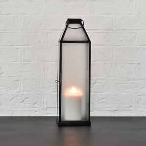 Lanterne en verre gaufré et métal patine veillie noire antique - GM