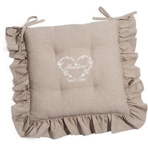 Galette de chaise en coton beige BONHEUR