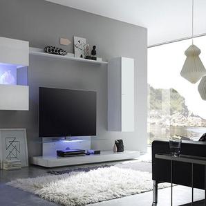 Ensemble meuble TV laqué blanc avec éclairage LED en option design ALBAN avec éclairage