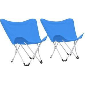 Chaise de camping pliable Forme de papillon 2 pcs Bleu - VIDAXL