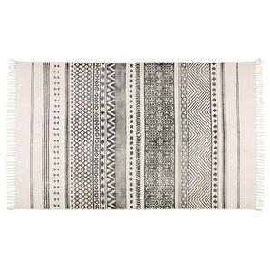 Tapis en coton écru motifs noirs 160x230 VIZCA