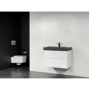 Saniclass New Future Grey Stone Meuble salle de bain 80cm brillant avec miroir Blanc SW17779