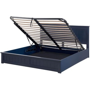 Lit 180 x 200 cm bleu en bois de pin avec rangement - BELIANI