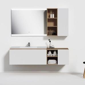 Meuble de salle de bain ALASSIO 1000 Scandinave vintage et blanc - DISTRIBAIN