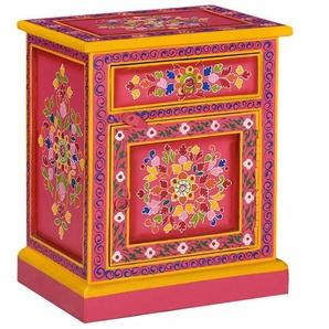 Table de nuit chevet commode armoire meuble chambre bois de manguier massif rose peinture à la main - Rose - HELLOSHOP26