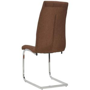 Lot de deux chaises de salle à manger tissu marron - Marron - HELLOSHOP26