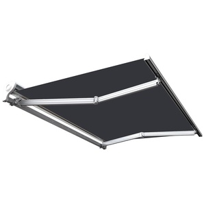 Store banne manuel Demi coffre pour terrasse - Gris anthracite - 3,6 x 3 m - SUNNY INCH ®