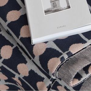 Dalmeny couvre-lit tricoté, 130 x 170 cm, bleu nuit et rose