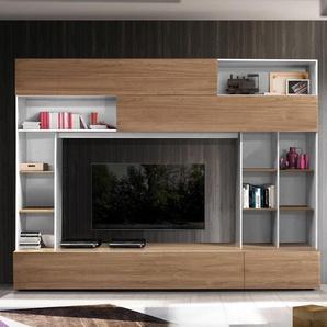 Meuble TV complet blanc et couleur noyer moderne PERDITA
