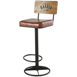 Chaise de bar en métal noir et textile enduit marron Harvey