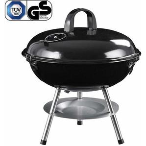 Barbecue Gril à charbon de bois avec couvercle, barbecue à boule transportable, barbecue à trépied récupérateur cendres - pour les fêtes de jardin et le camping -Petit - GBQ14BK - SONGMICS