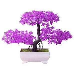 Womdee Mini Artificiel bonsaï dintérieur, Mini kit bonsaï NE Pourra Pas dégradé na Pas Besoin darrosage en Pot Bureau Parfaite, Home Étagère Décoration (Résine Plastique) Violet
