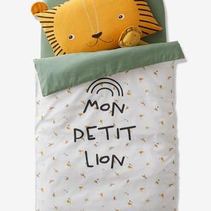 Housse de couette bébé MON PETIT LION ivoire imprimé / vert