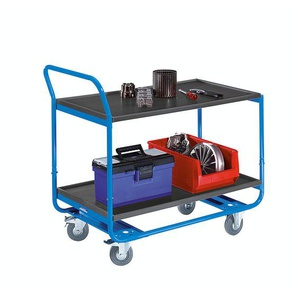 EUROKRAFT Chariot à plateaux, force 150 kg - 2 niveaux, en MDF, L x l 1000 x 570 mm - roulettes à bandage caoutchouc