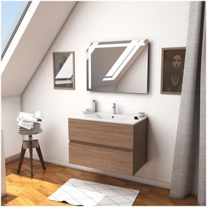 Ensemble Meuble de salle de bain chêne celtique 60cm suspendu a 2 tiroirs + vasque ceramique blanche + miroir led integree - STARTED pack 23 - AURLANE