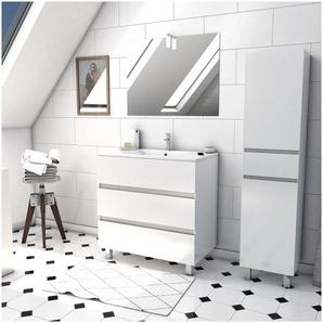 Ensemble Meuble de salle de bain blanc 60cm sur pied a 3 tiroirs + vasque ceramique blanche + miroir applique LED + meuble colonne sur pied - STARTED pack 40 - AURLANE