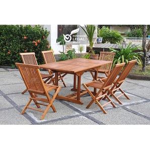Lubok : Salon de jardin Teck huilé 6 personnes - Table rectangulaire + 6 chaises