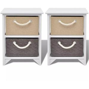 Table de nuit chevet commode armoire meuble chambre 2 pcs bois - Bois - HELLOSHOP26