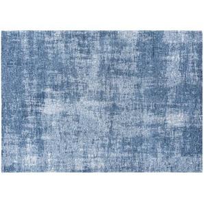 Tapis bleu motifs jacquard 140x200