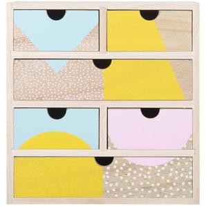 Boîte de rangement 6 tiroirs en paulownia à motifs multicolores
