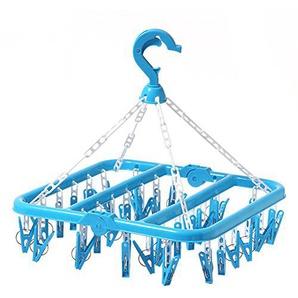 SMARTrich Plastique pliable Séchage Rack 32Clips Cintre, Plastique, bleu, 02#