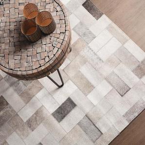 Tapis en cuir avec motifs géométriques 160 x 230 cm KORFEZ