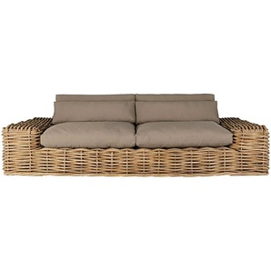 Canapé de jardin 2/3 places en rotin et coussins taupe St Tropez