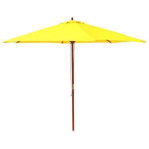 Parasol 300x300 cm jaune avec pied en bois - M&S