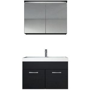 Meuble de salle de bain Paso 02 80x40cm lavabo Noir brillant – Armoire de rangement miroir armoire miroir - BADPLAATS