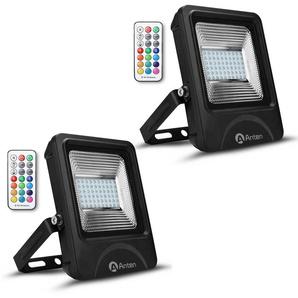 2×Anten 30W RGB Projecteur LED Dimmable IP65 Étanche 16 Couleurs 4 Modes, Spot LED Éxtérieur Ultra-Mince, Lampe Halogène Multicolore Décoration avec Télécommande (Connecteur de cble étanche Fourni)