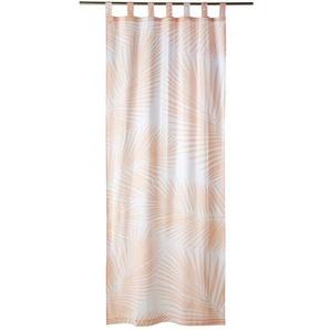 Rideau à passants en coton rose imprimé blanc à lunité 105x250