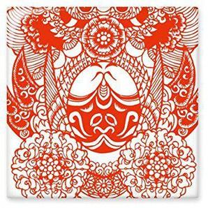 DIYthinker Opéra de Pékin Opéra de Pékin Masque Rouge Meihualing Art Traditionnel Culture Chinoise Papier découpé Illustration Motif céramique Bisque Carreaux pour décorer Salle de Bains Décor de CU
