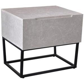 Table de chevet Logam 1 tiroir Marbre - Blanc - COTECOSY