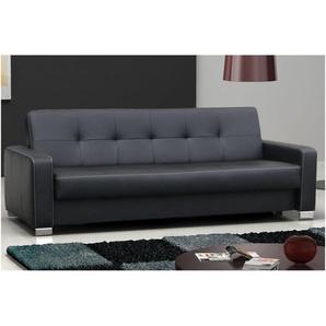 JUSTyou LEO Canapé cuir éco Noir (LxP) 227x90 cm