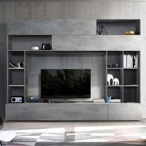 Meuble TV mural design gris effet béton PERDITA