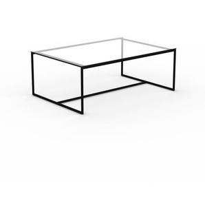 Table basse - verre clair transparent, design, bout de canapé sophistiqué - 121 x 46 x 81 cm, personnalisable