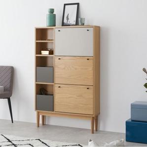 Campton, meuble à chaussures large, chêne et fini gris