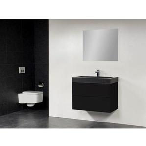 Saniclass New Future Black Spirit Meuble salle de bain 80cm avec miroir Blanc
