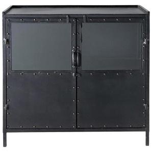 Buffet indus vitré en métal noir L 87 cm Edison