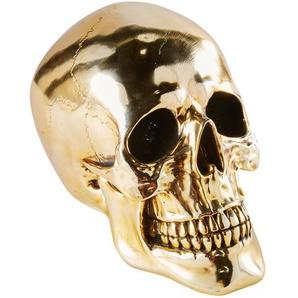 Statuette tête de mort dorée H20