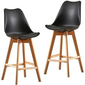 2X Un ensemble de deux chaises de bar de style scandinave noir - JEOBEST