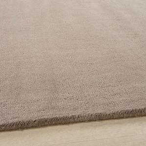 Tapis à poils courts en laine taupe clair 160x230