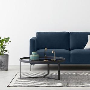 Milo, grand canapé 2 places en velours, bleu saphir