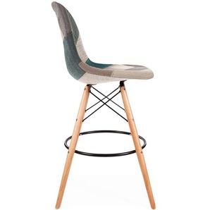 Chaise de bar DSB - Patchwork bleu