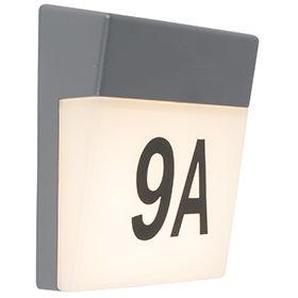 Applique murale dextérieur gris avec LED et numéro de maison IP54 - Numéros Qazqa Moderne Luminaire exterieur IP54