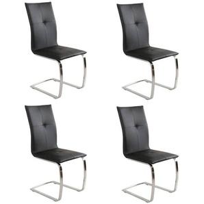 Lot de 4 chaises SWING revêtement polyuréthane façon cuir noir piétement chromé type luge