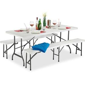 Set 3x Meubles 1 Table & 2 Bancs Pliants, Uni, Jardin Barbecue HLP 74x180x74,5cm, Blanc - RELAXDAYS