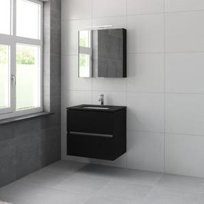 Bruynzeel Miko Meuble avec armoire de toilette 70cm Noir soie 226533k
