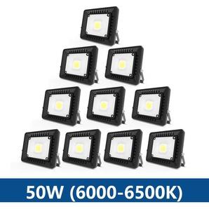 10×Anten 50W Projecteur LED IP65 Étanche Ultra-Mince Spot LED Léger Puissant Lampe pour Intérieur et Extérieur Blanc Froid 6000K (Noir)