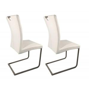 Lot 2 chaises design blanches en simili cuir - ADRIANA - Blanc - MEUBLETMOI